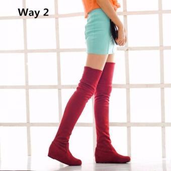 pretty nice df301 3ce19 Harga Fashion Women Winter Flat Bottom Shoes Over The Knee ...