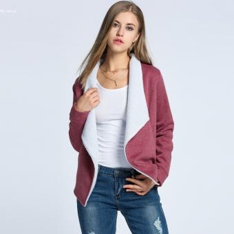 Fashion Women Winter Warm Wide Lapel Open Front Fleece Slim Jacket Coat (Red)