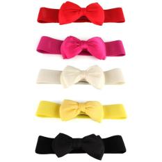 Fashion Women's Bowknot Elastic Bow Wide Stretch Buckle Waistband Waist Belt Rose Red