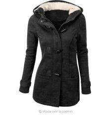 Fashion Womens Slim Hooded Zipper Horn Buttons Coat Overcoat Jacket (Dark Gray) - Intl