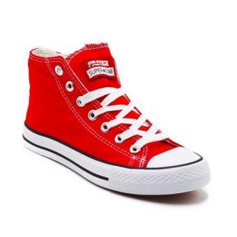 Faster Sepatu Sneakers Kanvas Wanita 1603-04 - Merah-Putih