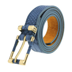 Female Woman Crocodile Pattern Grain Leather Waist Belt All-match Blue
