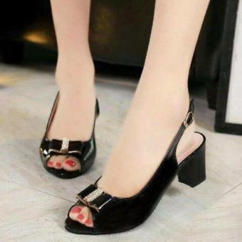 Femine - Sapatu Sandal High Heel Kotak EC03- Hitam