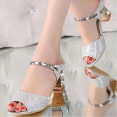 Femine - Sepatu Sandal High Heel Wanita Glitter US34 - Silver