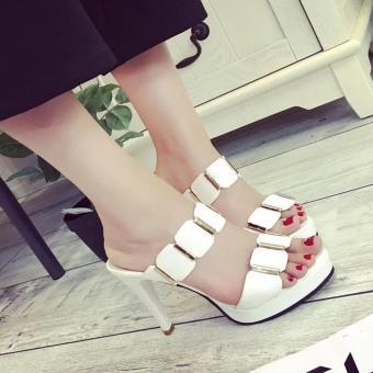Femine - Sepatu Sandal High Heels Wanita Casual - Putih