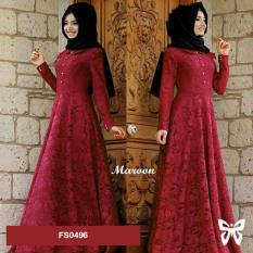 Flavia Store Maxi Dress Lengan Panjang Set 2 in 1 FS0496 - MAROON / Gamis /