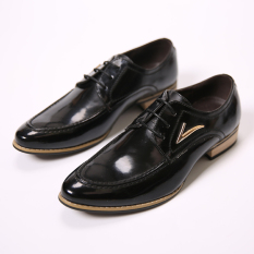 Four Seasons Korean Casual Shoes England Pointed Leather Shoes Hairstylist Men's Shoes (Black)