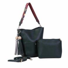 Freeshop Tas Wanita Women Fashion PU Tote Leather Handbags Shoulder Bags Tote Bag Fashion + Pouch Sling Grafis - Hijau