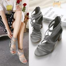 Fuboshoes Sepatu Wanita High Heels Gladiator Grey Uk.36