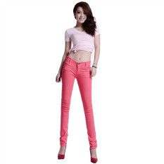 Fuchsia Pink 2016 New Arrived Womens Jeggings Size 26-31 Ladies Fit Skinny Coloured Stretchy Trousers Jeans Casual Summer Autumn Pants Colours - Intl