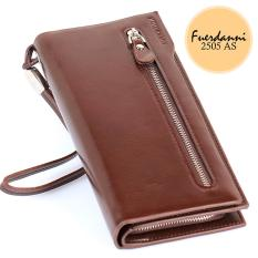Fuerdanni Dompet Fashion Import PU leather premium long wallet with zipper- Coklat