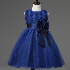 Gadis Gaun Pesta Anak Princess Tanpa Lengan Gadis Bunga Gaun Biru Laut