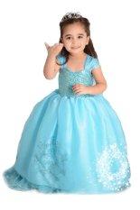 Gadis Gaun Princess Kostum Pesta Pernikahan Anak Memakai Baju Biru