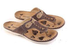 Garsel L469 Sandal Flat Casual Wanita - Synth - Keren (Coklat-Cream)