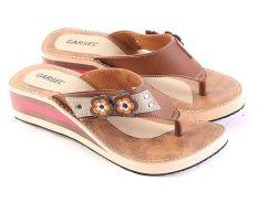 Garsel L486 Sandal Flat Casual Wanita - Synth - Bagus (Coklat-Cream)