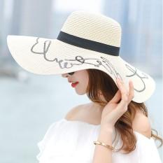 Wanita Trendi Musim Panas Pantai Berpasir Yang Bertepi Lebar Topi Source Bertepi Lebar .