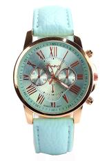 GENEVA Fashion Casual Gold Case PU Leather Band Women's Ladies Wrist Watch (Blue)