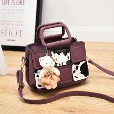 Genevieve 90089 Purple - Model Terbaru - Tas Tenteng Lucu Dengan Teddy Bear