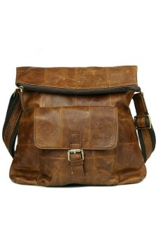 Genuine Cowhide Leather Messenger Bags (Brown)