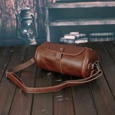 Genuine Leather Men Bag Crazy Horse Leather Men's Handbags Crossbody Shoulder Briefcase Barrel Messenger Bag Coffee