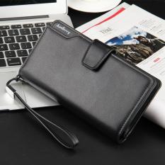 Genuine Leather Men Purse Long Wallet Layer Cowhide Handbag Men's Zipper Hand Bag Clutch Youth Mobile Phone Bag Card Holders (Black)