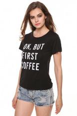 Jingle New Lady Women Fashion Short Sleeve O-Neck Letter Print Casual Slim T-Shirt S-XL (Black)