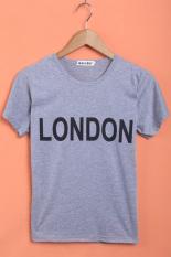 GETEK Short Sleeve O-neck Letter Printed T-Shirt (Grey) (Intl)