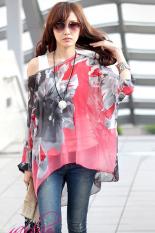 GETEK Women's Sexy Batwing Dolman Sleeve Chiffon Shirt Bohemian Tops Blouse Plus Size L-XL (Red) (Intl)
