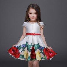 Girls Short Sleeve Dresses Summer Children Party Princess Girls Dresses A-Line Painted Flower Dresses L17132 - intl