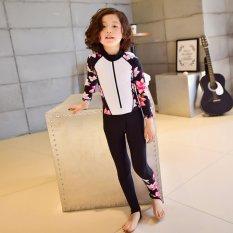 Girls Surf Wear Diving Suits Split Sunscreen Children Long-Sleeved Trousers Snorkeling Spa Swimwear (White) - intl
