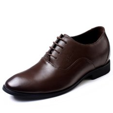 GN112631.2.56 Inches Taller-Genuine Leather Heightening Elevated Oxfords Formal Business Wedding Shoes (Brown)