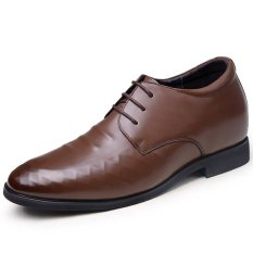 GN806.3.15 Inches Taller-Men's Height Increasing Elevator Calf Leather Shoes-Stereo Embossed Business Shoes (Brown)