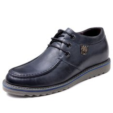 GN8580.2.36 Inches Taller-Genuine Leather Heightening Elevated Shoes Business Casual Derby Shoes (Blue)