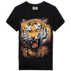 Good Quality 100%cotton 3d Tiger Printed Men Fashion T Shirt (Black) - Intl