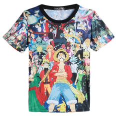 Good Quality 3D Men's OP Monkey D Luffy Printed Man Short Sleeve Round Neck O-neck T Shirt