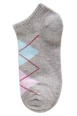 Gracefulvara 1 Pair Fashion Women Girls Casual Sports Ankle High Low Cut Cotton Diamond Socks (Grey)