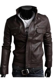 Gracefulvara Fashion Laki-Laki Pu Kulit Jaket Jaket Sepeda Motor Pengendara Sepeda Motor Ramping Cocok