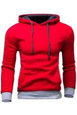 Gracefulvara Fashion Men's Slim Fit Sweatshirt Casual Hoodie Coat Hooded Jacket Overcoat (Red)