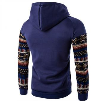 Gracefulvara New Men's Winter Slim Folk-custom Hoodie Warm Hooded Sweatshirt Coat Jacket Outwear Sweater - Cowboy Blue