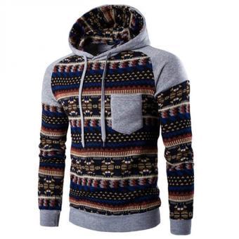 Gracefulvara New Men's Winter Slim Folk-custom Hoodie Warm Hooded Sweatshirt Coat Jacket Outwear Sweater - Light Gray
