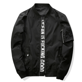 Grandwish Men Letter Printing Jackets With Pocket Slim Bomber Jackets M-4XL (Black)