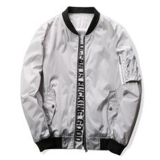 Grandwish Men Letter Printing Jackets With Pocket Slim Bomber Jackets M-4XL (Light Grey) - Intl