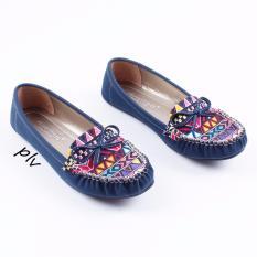 Gratica Sepatu Flat Shoes Etnik RJ43 - Navy