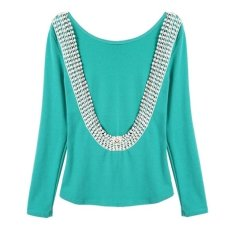Green Cotton Blend Deep V Sexy O-Neck Lace Halter Slim Long Sleeved T-shirt Casual, Party Women Blouse (M) -green-S