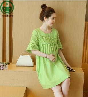 52abb62afb1a2 Green Cotton Linen Dresses for Pregnant Women Short Sleeve Dress Maternity  Clothes o Neck Maternity Dresses
