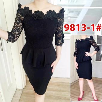 Grosir Dress -9813-1 Hitam