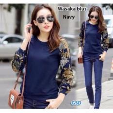 GSD-Baju Atasan Blus Motif Bunga-Wasabi Blus Navy
