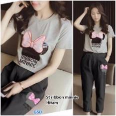 GSD-Setelan Baju Cewe Set Pita Minnie Black