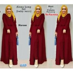 GSD - Setelan Baju dan Celana Muslim Wanita- Set Xaxa Maroon