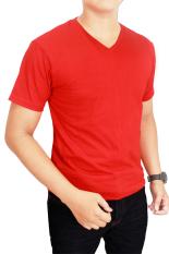 Gudang Fashion - Kaos Polos Pendek Pria V-Neck - Merah